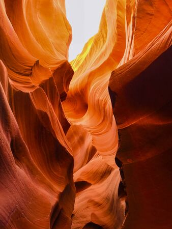Interior shot of Lower Antelope Canyon. Lower Antelope Canyon, is called Hazdistaza, or spiral rock arches by the Navajo, is located several miles from Upper Antelope Canyon.