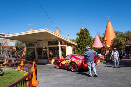 California, America,6th, March, 2018: The Lightning McQueen at Disney California Adventure Park, is a theme park located in Anaheim.