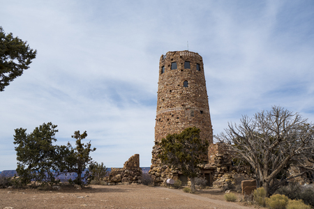 Arizona, America, 9th, March, 2018: Desert View Watchtower at daytime, is a 70-foot (21 m)-high stone building located on the South Rim of the Grand Canyon within Grand Canyon National Park in 報道画像