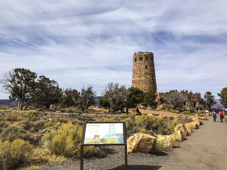 Arizona, America, 9th, March, 2018: Information about the Desert View Watchtower, is a 70-foot (21 m)-high stone building located on the South Rim of the Grand Canyon. 報道画像