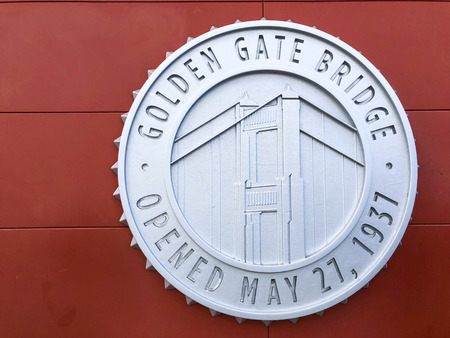 San Francisco, America, 14th, March, 2018: Outside view of Golden Gate Bridge Welcome center logo.