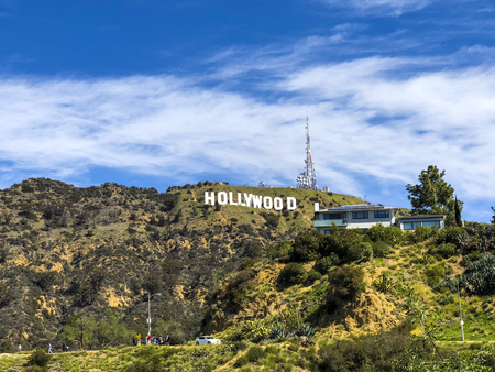 California, America, 19th, March, 2018: View of the Hollywood Sign, is an American landmark and cultural icon overlooking Hollywood.