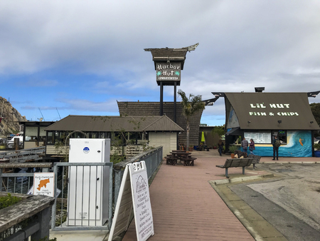 California, America, 17th, March, 2018: A restaurant at Morro Bay, is a coastal city in California. 報道画像