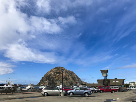 California, America, 17th, March, 2018: View of Morro Rock at Morro Bay, is a coastal city in California. 報道画像