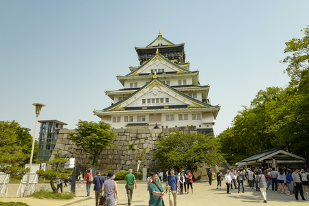 Osaka, Japan, 29th, May, 2017. Osaka Castle, the Central tower. The castle is one of Japans most famous landmarks. Viewed from Nishinomaru Garden.