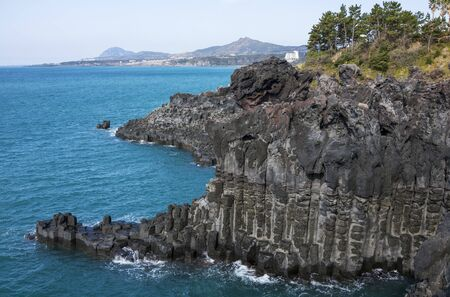 View of the Jusangjeollidae, cultural monument of Jeju Island.