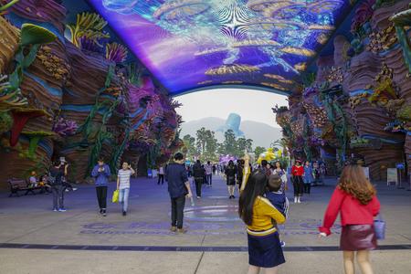 Zhuhai, China, November, 2018: Main entrance to the Chimelong theme park.