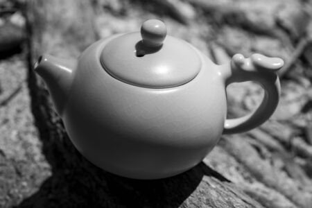 Tea culture, outdoor close-up shot of the teapot in black and white.