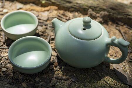 Tea culture, outdoor tea set. 版權商用圖片