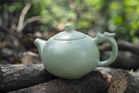 Tea culture, outdoor close-up shot of the teapot. With trunks and blurred green leaves on background.