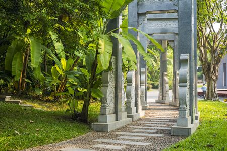 The stone gateway in the Shenzhen International Garden and Flower Expo Park, is a public, urban park in Futian District, Shenzhen, China.