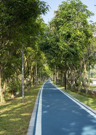 The bicycle lanes in Dayun Nature Park. The park near Shenzhen Universiade Sports Centre, located in Longgang District, Shenzhen, China.