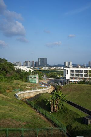 View of Dayun Nature Park in the daytime. The park near Shenzhen Universiade Sports Centre, located in Longgang District, Shenzhen, China. 版權商用圖片