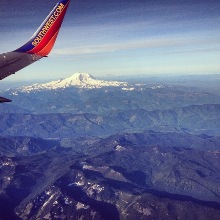 southwest: View of mount rainier from an airplane Stock Photo