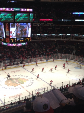 madhouse: View of the Chicago Blackhawks in the madhouse on Madison from the 300 level
