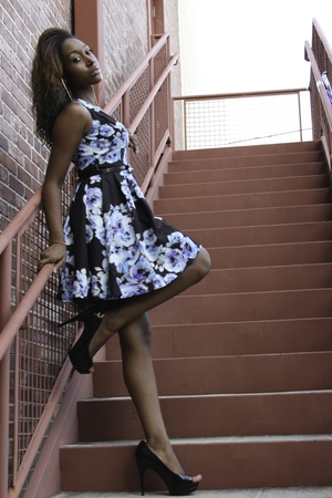 Woman on a stair photo