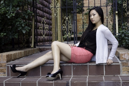 Asian woman with long straight hair