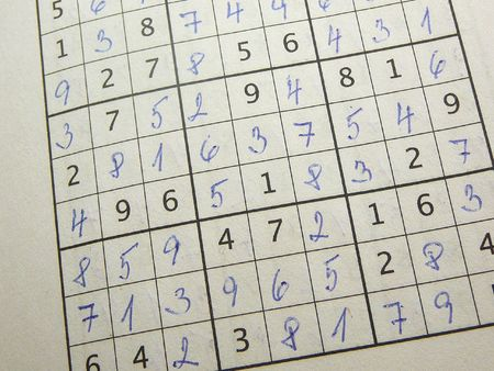 Completed sudoku puzzle. photo