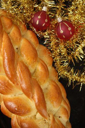 Christmas cake and christmas decorations.