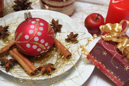Festive table setting for Christmas.