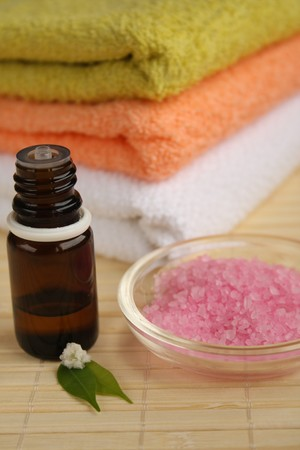 Aromatherapy oil, salts and towels. Stock Photo - 4544072