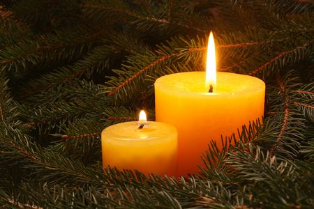 advent candles: Two candles in needles. Stock Photo