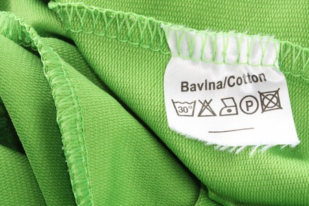 Clothing label with information note. photo