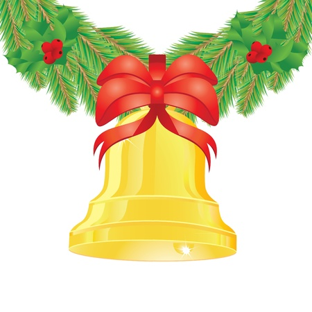 Illustration of gold bell with red ribbon on fir decoration.