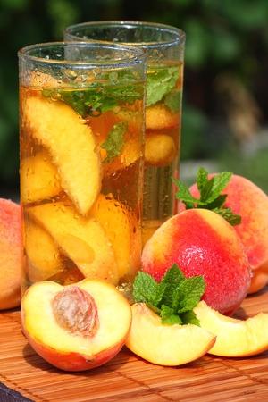 Ice tea with peach.