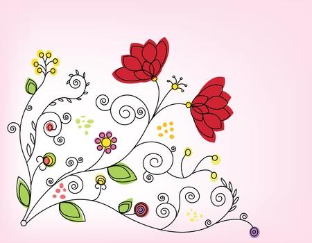 dekor: Vector floral illustration with pink background.