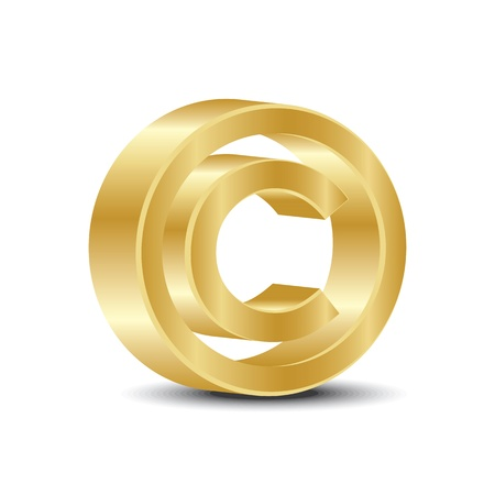A copyright sign in gold  color on white background. Vector