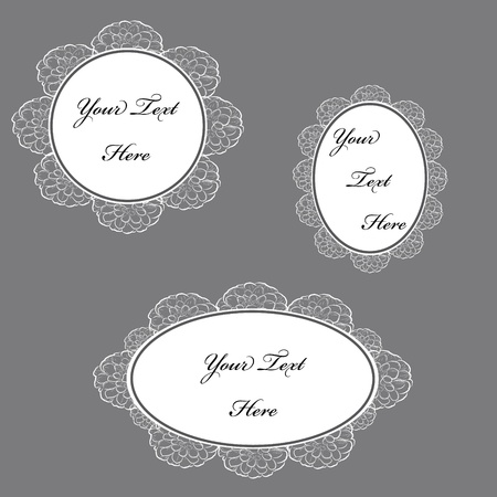 Set of vector illustration of vintage lace frames. Stock Vector - 12193627