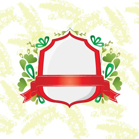 Red shield and ribbon with decorative elements. Stock Vector - 12193630
