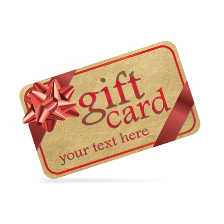 prepaid card: Red gift card isolated on white background.