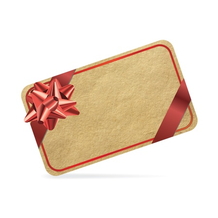 Red gift card isolated on white background.