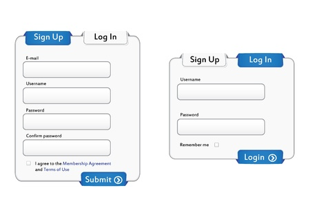 Illustration of Login and Sign up forms. Stock Vector - 12545464