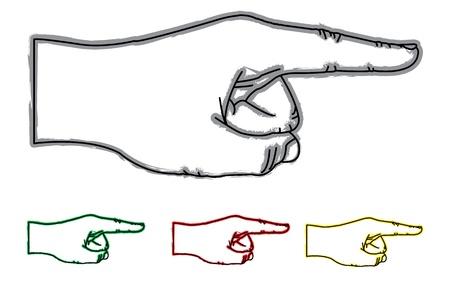 집게 손가락: 네 가지 색상에 손을 가리키는 그림