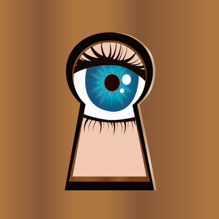 Eye looks through keyhole  Stock Vector - 12477639