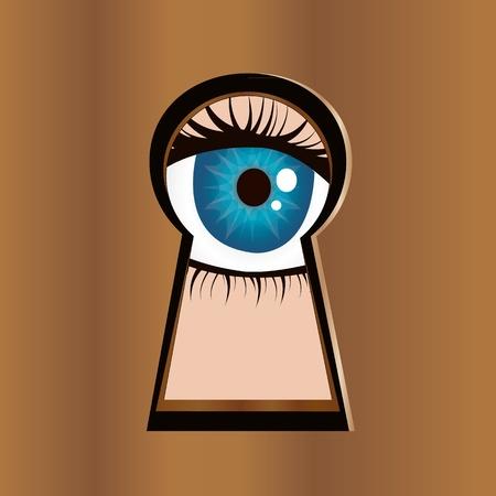 dishonesty: Eye looks through keyhole