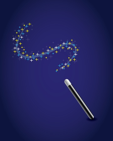 Magic wand with a trail of stars  Stock Vector - 12477643