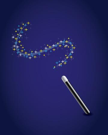 Varita mágica con un rastro de estrellas
