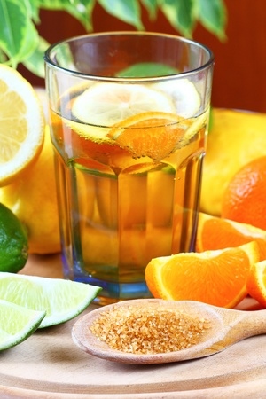 Ice tea - drink with lemon, lime and orange
