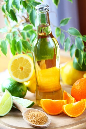 thirst quenching: Alcohol drink with lemon, lime and orange