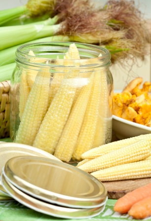 Jar with corn preparing for preserving
