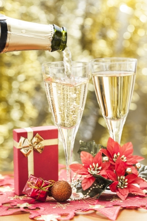 Two glasses of champagne and decorations