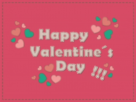 Happy Valentine�s day card with trendy type and hearts