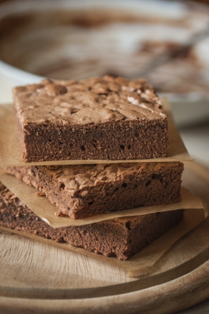 Fresh baked chocolate brownie with yogurt  Stock Photo