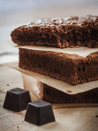 Fresh baked chocolate brownie with yogurt  Stock Photo - 18155413