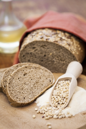 Slice of wholemeal bread and loaf  Stock Photo