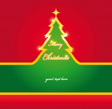 Green and red Christmas card with gold tree